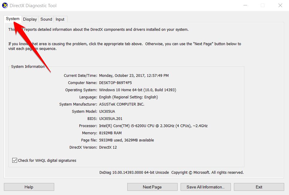 Dx diag report Windows 10