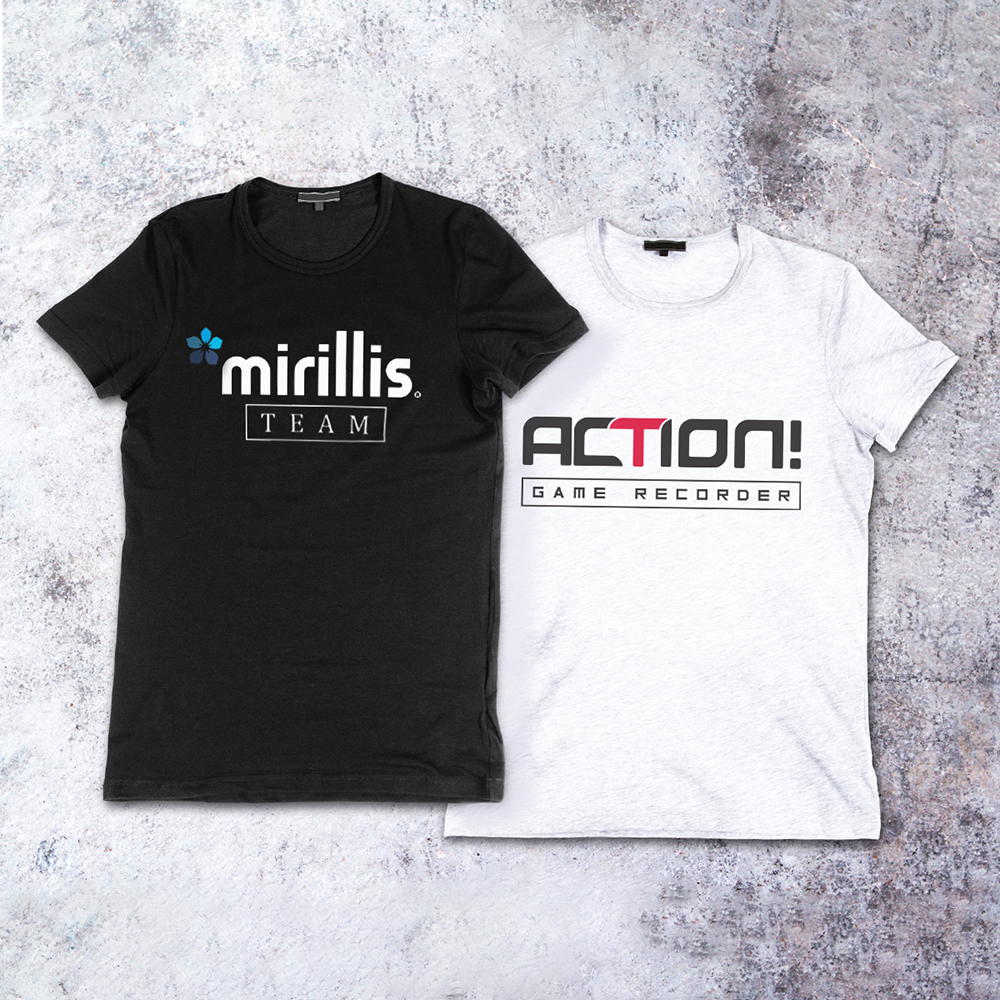 Black T-shirt with Mirillis logo and a white shirt with Action logo