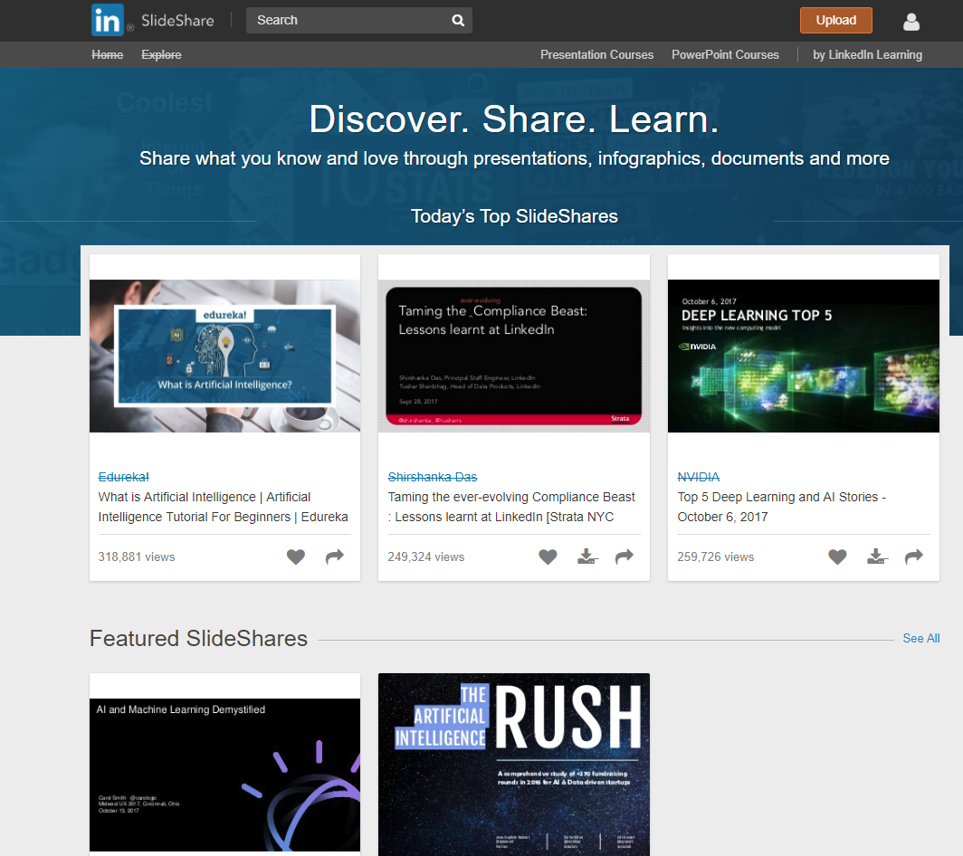slideshare main screen