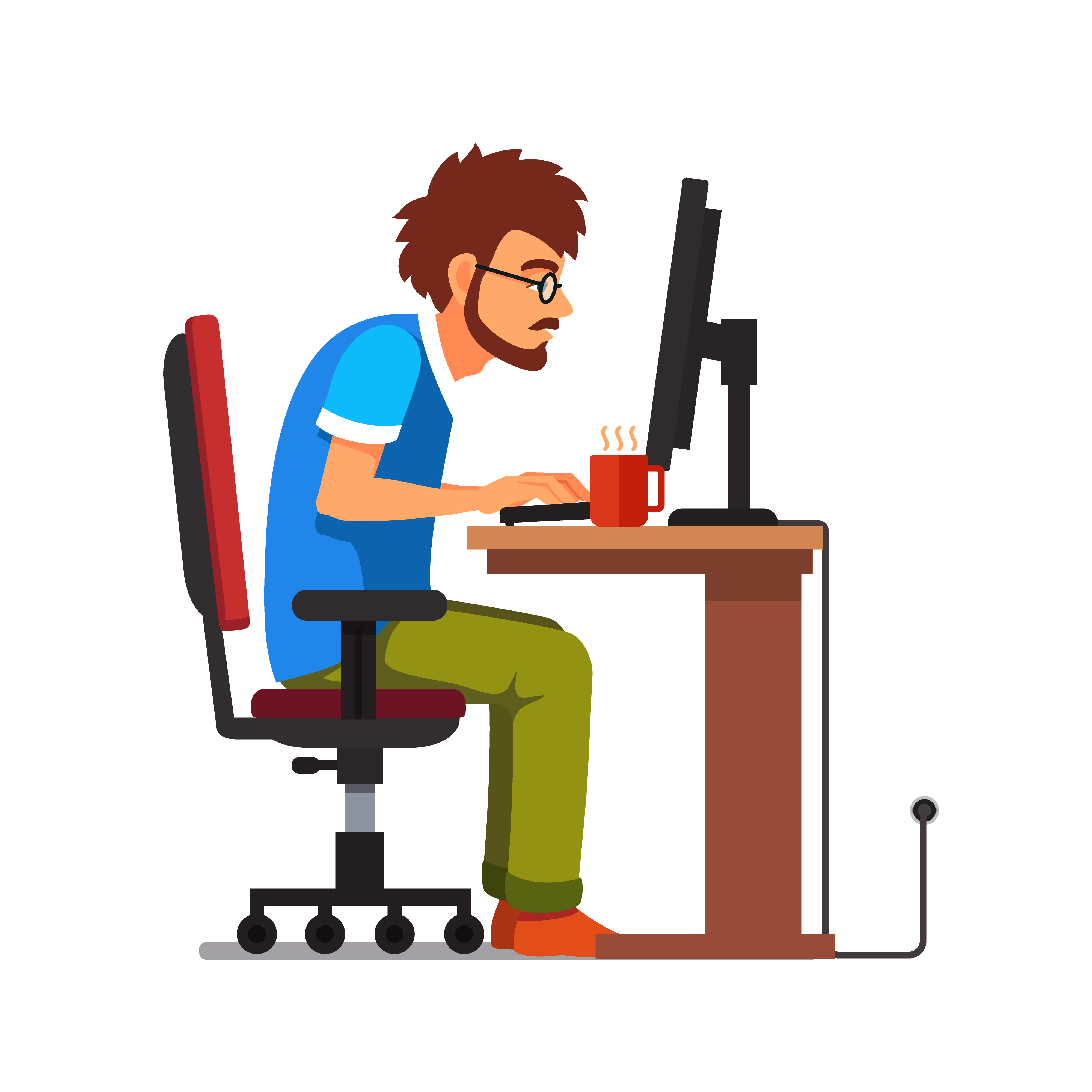 Cartoon style, Man sitting in front of a computer