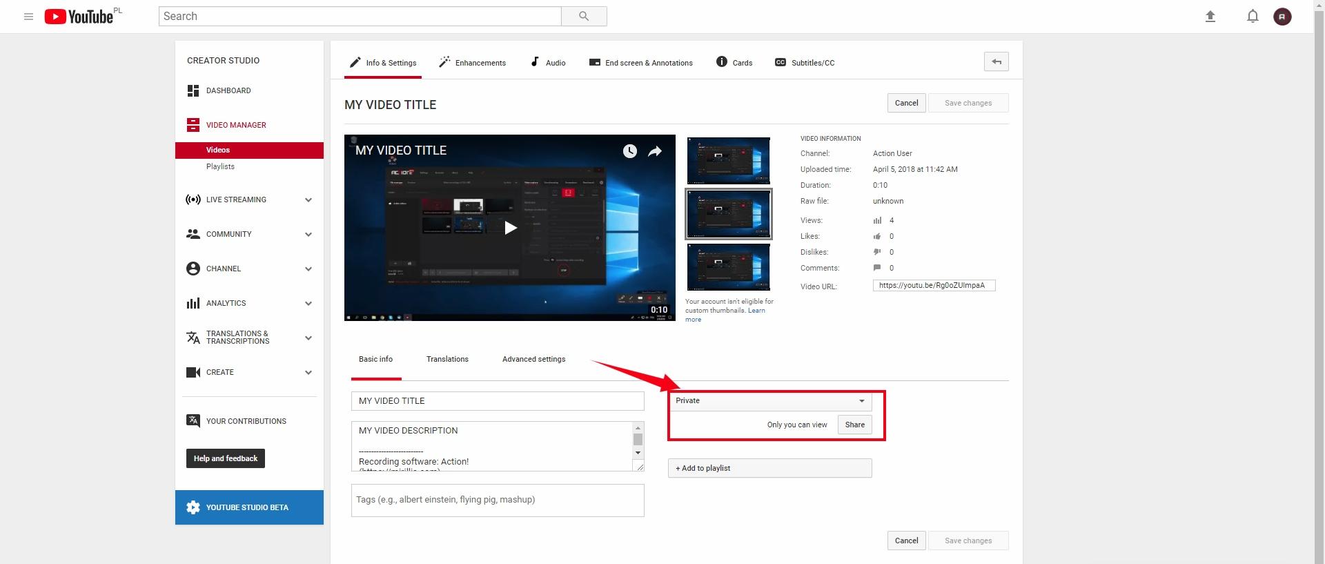 YouTube's user panel