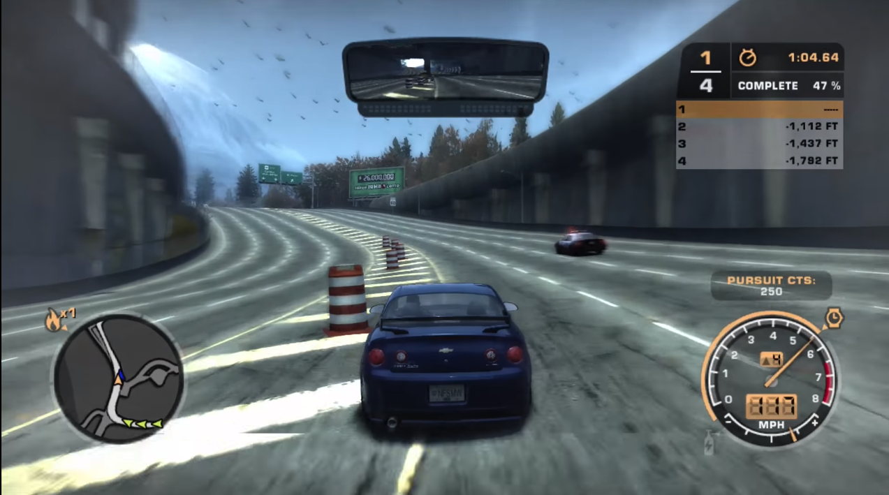 Need for Speed: Most Wanted (2005) car race in town