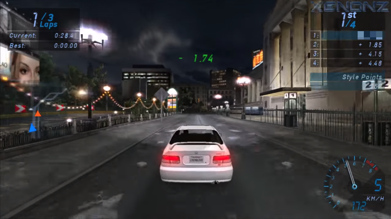 Need for Speed: Underground 2 car race in a city