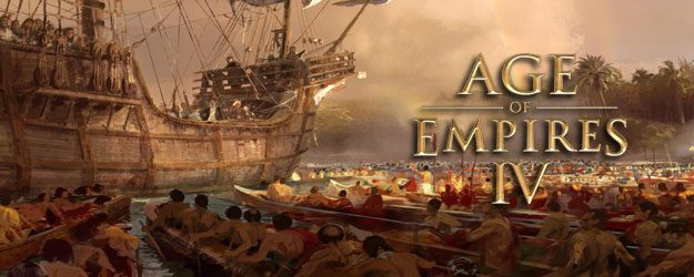 Age of Empires promotional image, Massive ship on a sea in the middle of small boats