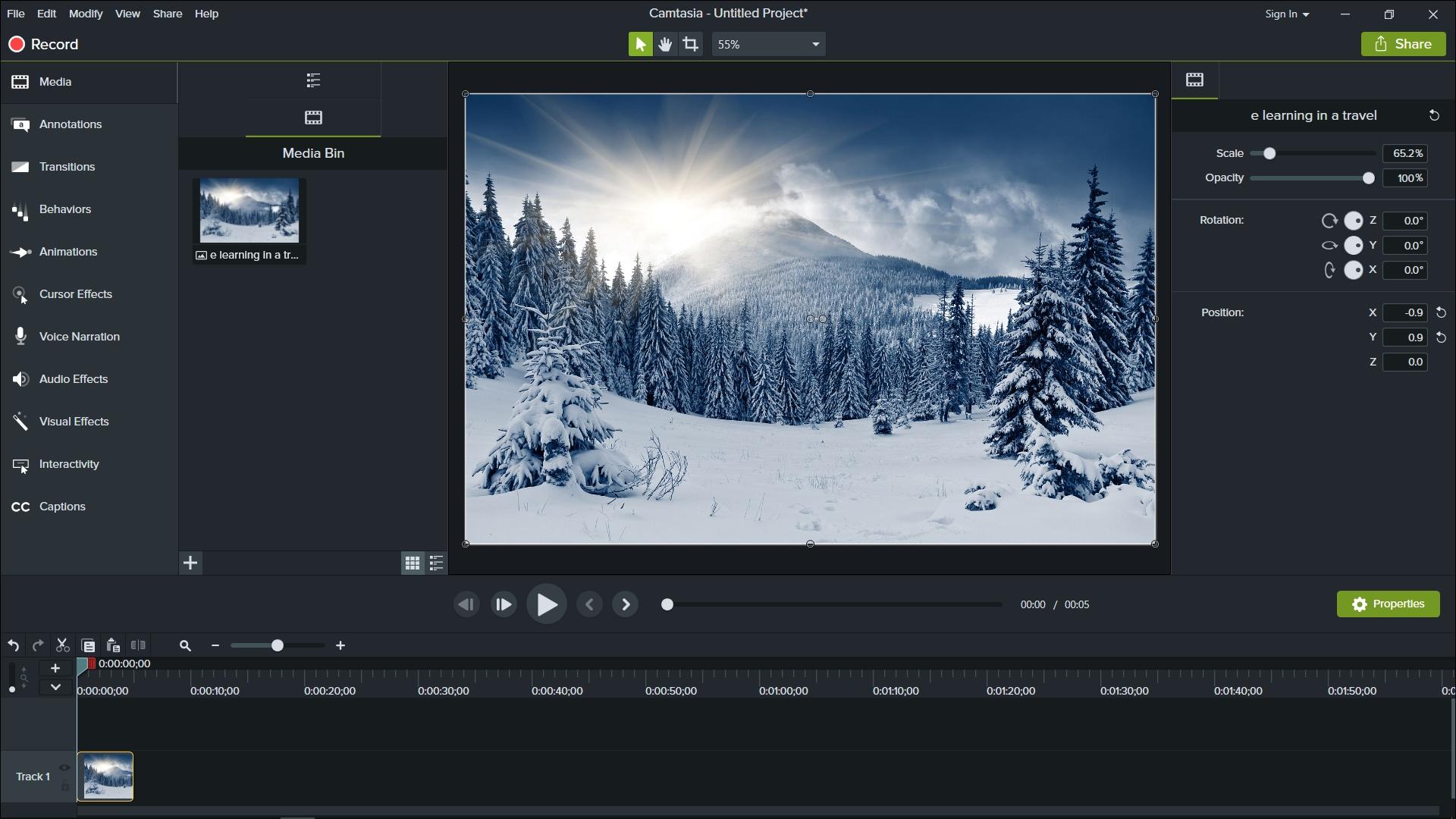 Program do nagrywania ekranu i edycji wideo Camtasia Studio - interfejs użytkownika