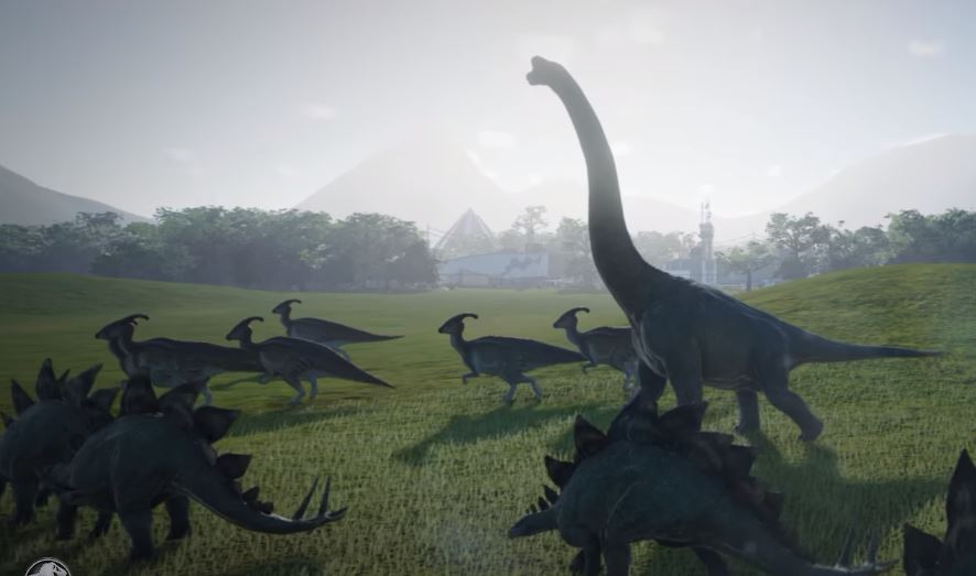Diplodocus - Tall dinosaur on a field srrounded by small dinosaurs - Stegosaurus and Ornithopods