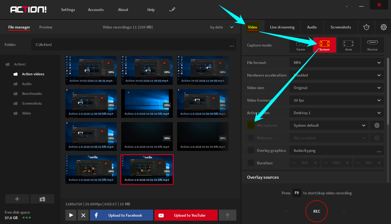 Mirillis Action! screen recorder tutorial