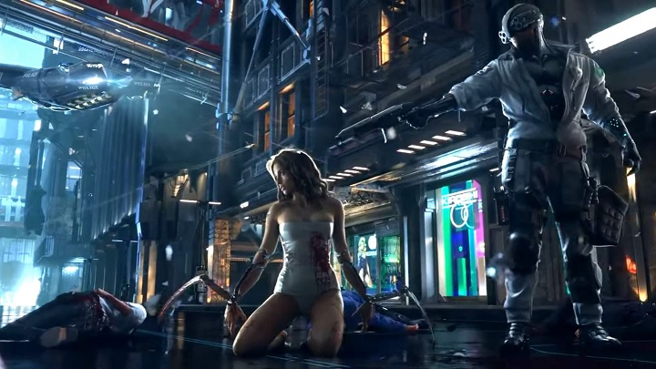 Sci-fi town, a beautiful cyborg-woman is kneeling unaware of a cyborg-man, that stands behind her and points a gun at her
