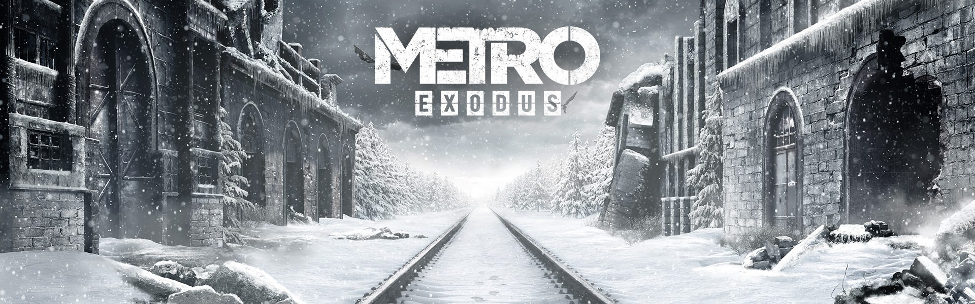 Metro exodus promotional image, a scenery of destroyed buildings during winter