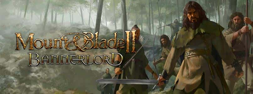 A strong man in medieval clothing holds a sword in a forest