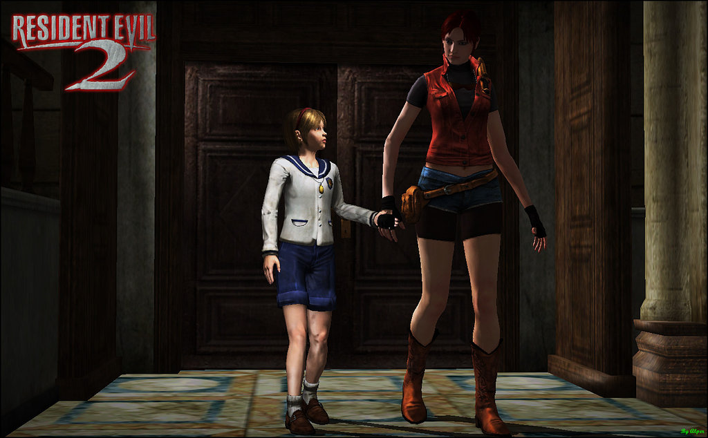 a screenshoot of a game, adult woman is walking with a young girl in a corridor