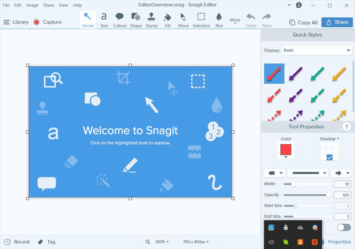 Program do nagrywania ekranu i edycji obrazów Snagit - interfejs użytkownika
