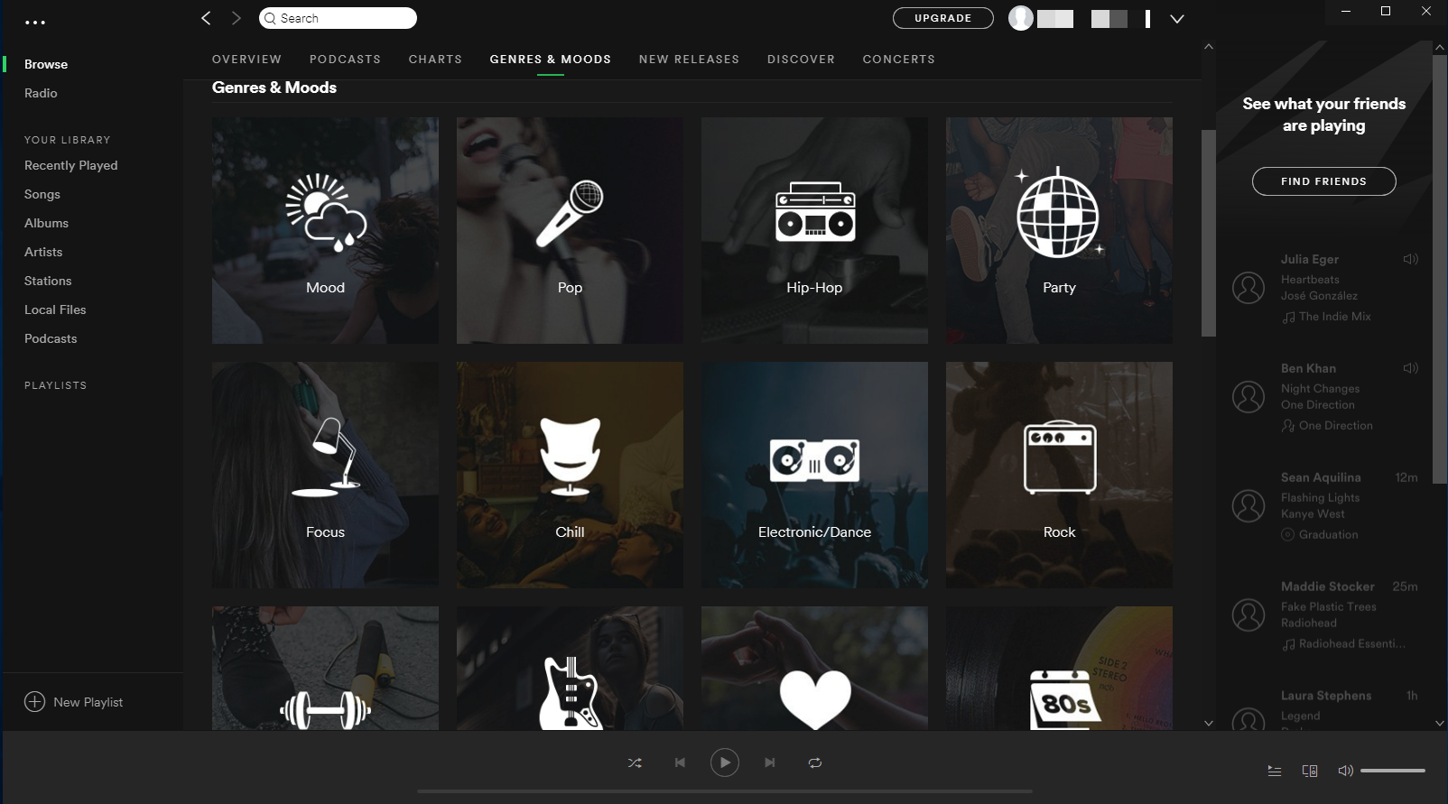 Interface of Spotify's user panel
