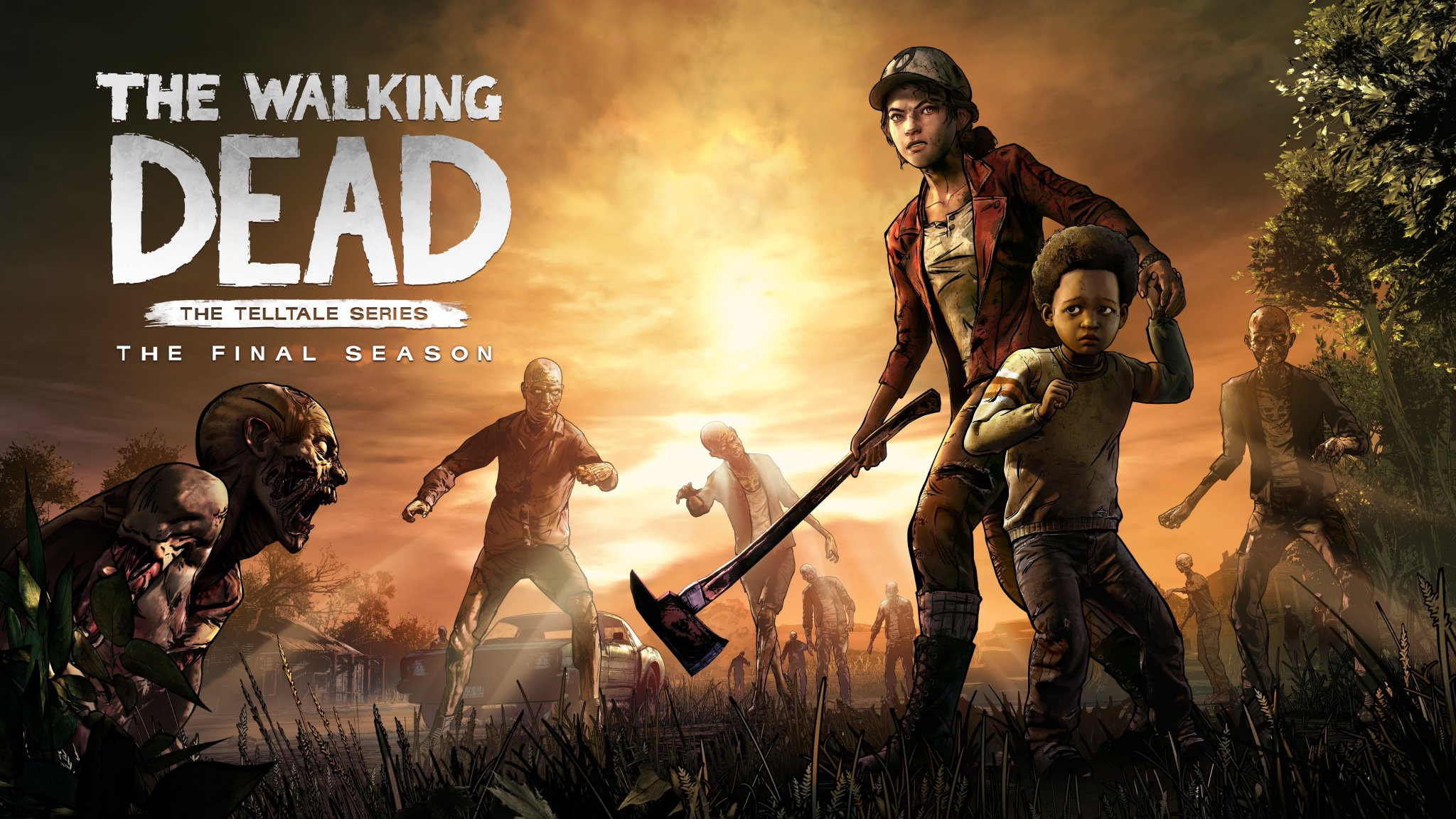 a girl holds an axe and protects a younger child against zombies