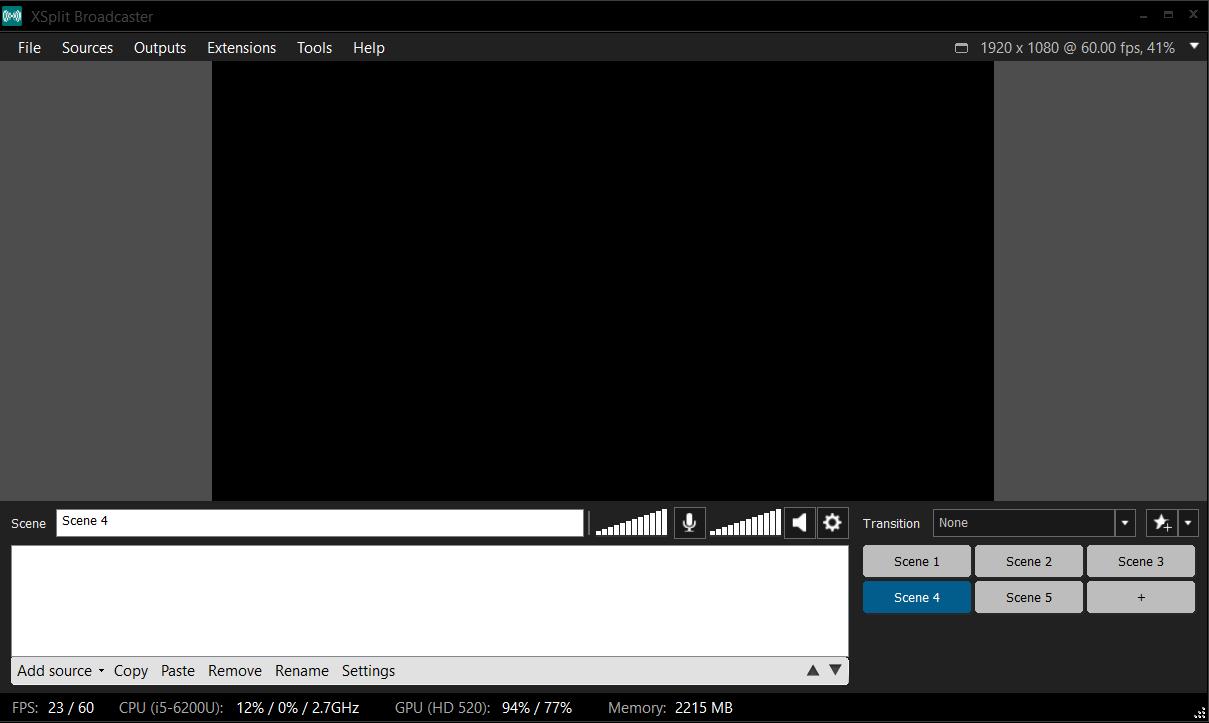 Program do nagrywania ekranu i streamingu wideo na żywo XSplit - interfejs użytkownika