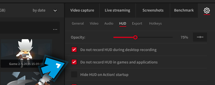 Mirillis Action! - Settings - Do not record HUD in games and applications