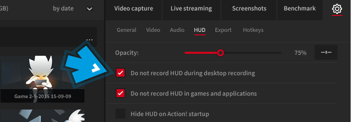 Mirillis Action! - HUD settings - Hide HUD during desktop recording