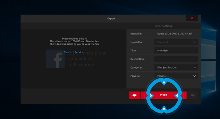 Mirillis Action! - exporting video recordings to Facebook - start export