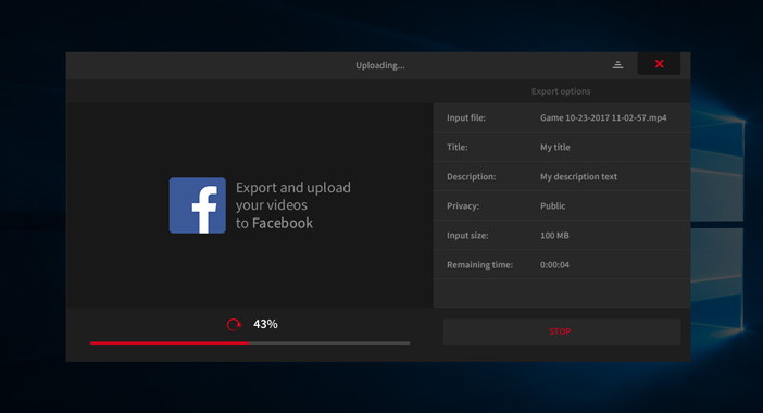 Mirillis Action! - exporting video recordings to Facebook - uploading