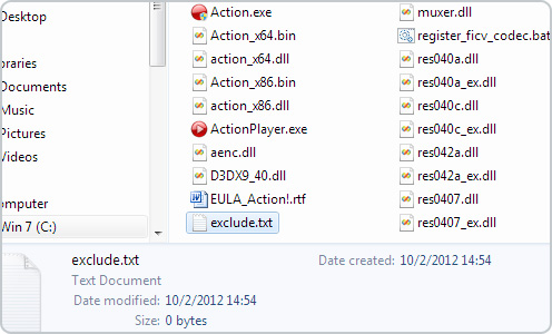 Mirillis Action! - exclude file