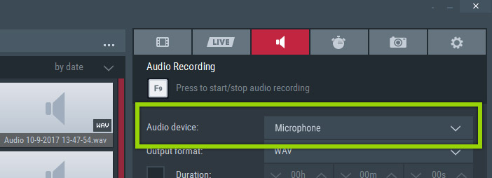 Select your microphone device