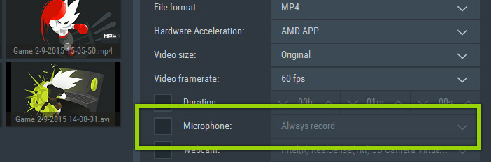 Mirillis Action! - Microphone recording disabled