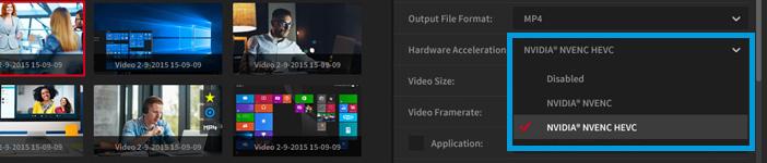 NVIDIA NVENC H.265/HEVC recording acceleration