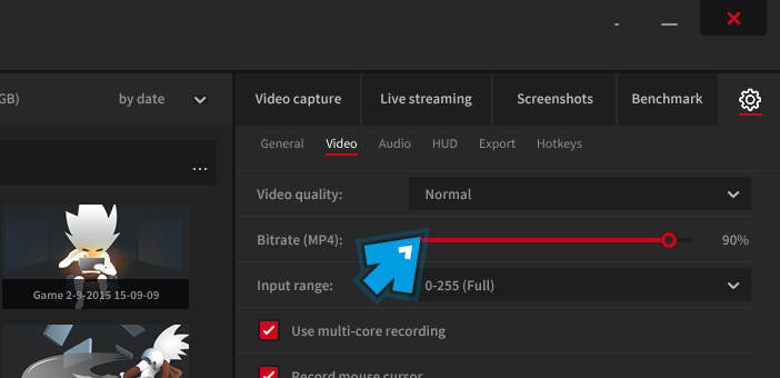Mirillis Action! - Video bitrate settings