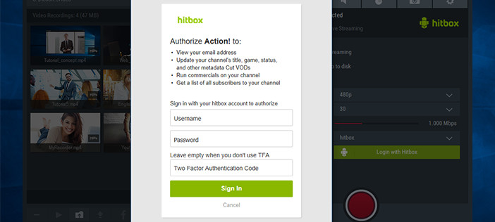 Mirillis Action! - Login with hitbox