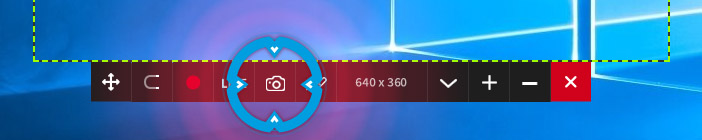 Mirillis Action! - desktop region mode - capture screenshot button