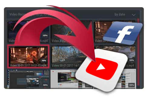 Upload Windows desktop and gameplay recordings to YouTube™ or Facebook.